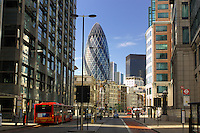 View to 30 St. Mary Axe Building, Shoreditch High Street, Spitalfields, London, Great Britain, UK