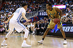 11 March 2016: Notre Dame's V.J. Beachem (3) and North Carolina's Justin Jackson (44). The University of North Carolina Tar Heels played the University of Notre Dame Fighting Irish at the Verizon Center in Washington, DC in the Atlantic Coast Conference Men's Basketball Tournament semifinal and a 2015-16 NCAA Division I Men's Basketball game. UNC won the game 78-47.