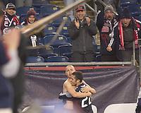 New England Revolution forward Rajko Lekic (10) celebrates winning goal. In a Major League Soccer (MLS) match, the New England Revolution defeated Sporting Kansas City, 3-2, at Gillette Stadium on April 23, 2011.