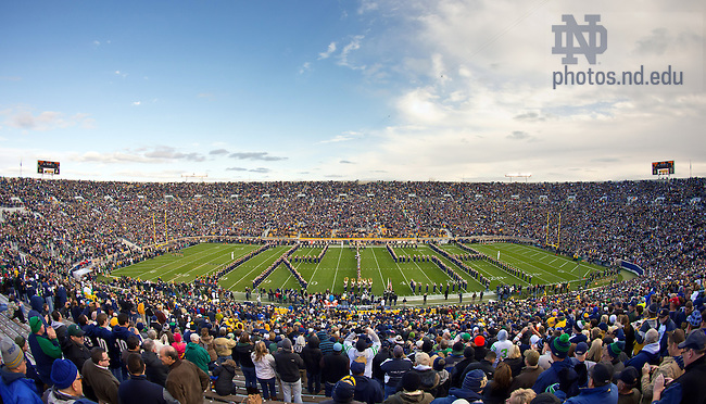"Nov. 3, 2012; The Notre Dame Marching Band spells out ""Irish"" during their pregame performance at Notre Dame Stadium before the Pitt game, 2012...Photo by Matt Cashore/University of Notre Dame"