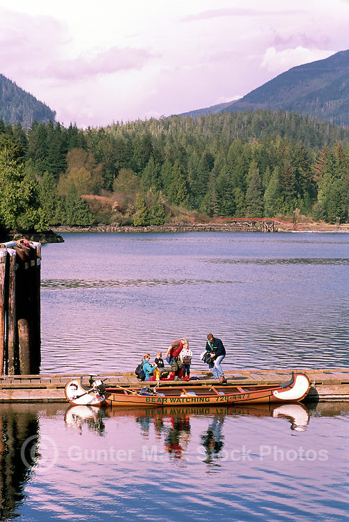 Tourists leaving Ucluelet Harbour on Bear Watching Tour in Canoe, Ucluelet, BC, Vancouver Island, British Columbia, Canada