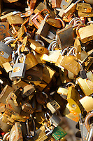 Locks of lovers with messages chained on the railings in Pecs ( Pécs ) - European Cultural City of The Year 2010 , Hungary