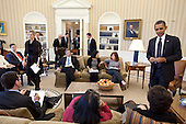 United States President Barack Obama talks with Senior Advisor Valerie Jarrett before the start of a meeting with senior advisors in the Oval Office, February 7, 2012. .Mandatory Credit: Pete Souza - White House via CNP
