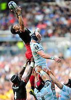 Michael Rhodes of Saracens looks to gather the ball at a lineout. European Rugby Champions Cup Final, between Saracens and Racing 92 on May 14, 2016 at the Grand Stade de Lyon in Lyon, France. Photo by: Patrick Khachfe / Onside Images