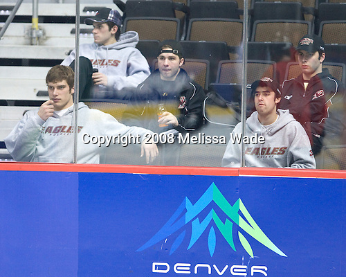 Carl Sneep (BC 7), Brian Gibbons (BC 17), Joe Whitney (BC 15), Andrew Margolin (BC 30), Anthony Aiello (BC 2) - The 2008 Frozen Four participants practiced on Wednesday, April 9, 2008, at the Pepsi Center in Denver, Colorado.