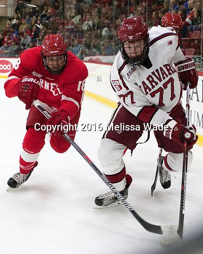 Jared Fiegl (Cornell - 18), Lewis Zerter-Gossage (Harvard - 77) - The Harvard University Crimson defeated the visiting Cornell University Big Red on Saturday, November 5, 2016, at the Bright-Landry Hockey Center in Boston, Massachusetts.