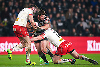 Picture by Alex Whitehead/SWpix.com - 10/03/2017 - Rugby League - Betfred Super League - Hull FC v St Helens - KCOM Stadium, Hull, England - Hull FC's Josh Bowden is tackled by St Helens' Alex Walmsley and Luke Douglas.