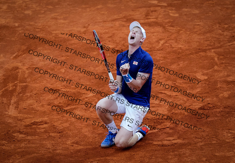 BELGRADE, SERBIA - JULY 17: Kyle Edmund of Great Britain celebrates victory against Dusan Lajovic of Serbia after day three of the Davis Cup Quarter Final match between Serbia and Great Britain on Stadium Tasmajdan on July 17, 2016 in Belgrade, Serbia. (Photo by Srdjan Stevanovic/Getty Images)