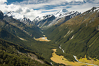 Matukituki Valley with river and Mt. Aspiring 3033m in distance, Mt. Aspiring National Park, Central Otago, South Island, World Heritage Area,New Zealand