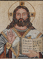 Mosaic of Christ Pantocrator from St George's Church, Madaba, Jordan. Here, Christ is seen with a teaching gesture and holding an open book. This Greek Orthodox church was built in 1884 when earlier Byzantine mosaics were discovered on the site, including the 6th century Byzantine Madaba Mosaic Map. Picture by Manuel Cohen