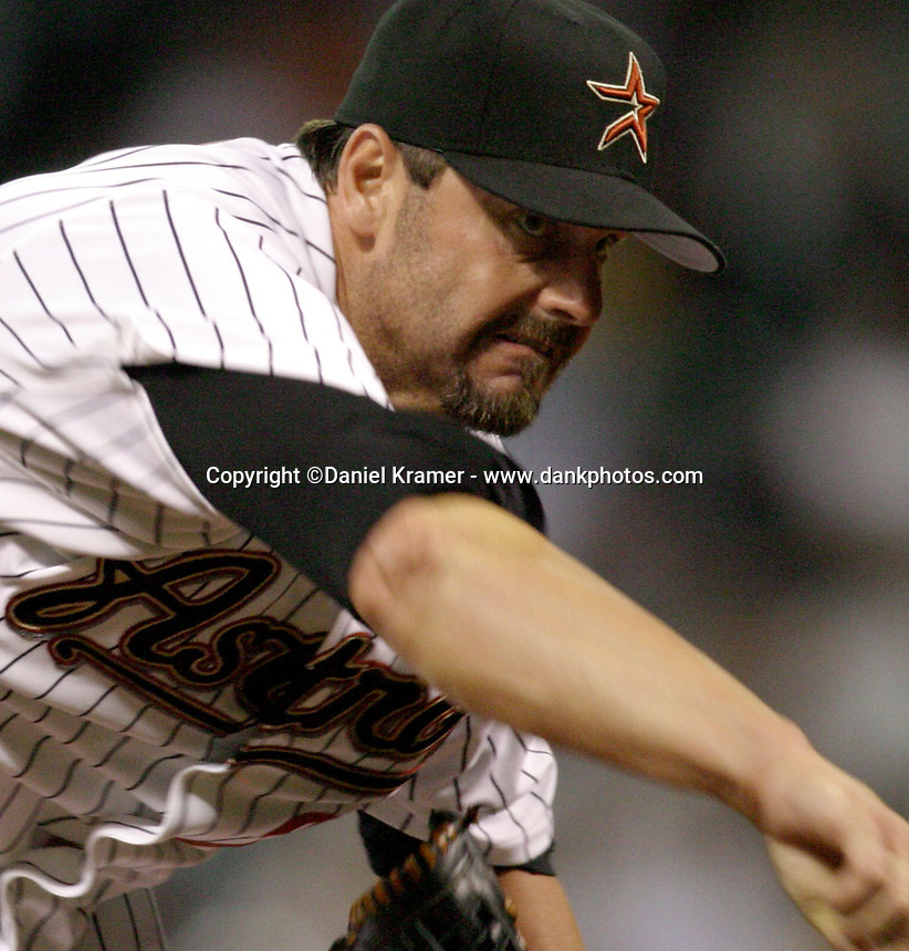 Houston Astros pitcher Roger Clemens throws a pitch on April 25, 2005.