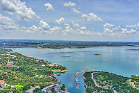 This is another birdeye view of Lake Travis after the recent floods.  We had a nice cloudy day with blue water to enhance the view of the lake. You can see the dam and a marina from this angle and follow the lake around the corner as it winds through the hill country.