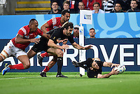 Nehe Milner-Skudder of New Zealand gathers the ball over the try-line to score. Rugby World Cup Pool C match between New Zealand and Tonga on October 9, 2015 at St James' Park in Newcastle, England. Photo by: Patrick Khachfe / Onside Images