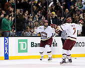 Nick Petrecki (BC 26) and Carl Sneep (BC 7) celebrate Petrecki's first goal which put BC up 3-2 in the second period. The Boston College Eagles defeated the Harvard University Crimson 6-5 in overtime on Monday, February 11, 2008, to win the 2008 Beanpot at the TD Banknorth Garden in Boston, Massachusetts.