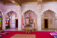 Moti Mahal, The Pearl Palace at Mehrangarh Fort 16th Century hall of public audience at Jodhpur in Rajasthan, Northern India