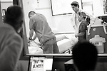 Benjamin Salgado, MD, 1st yr. resident, conducts at simulation at University Medical Center Brackenridge  in Austin, Texas on November 9, 2012.