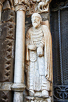 Sculpture on the main portal of St Paul, Basilica Church of Santa Maria Maggiore, Tuscania