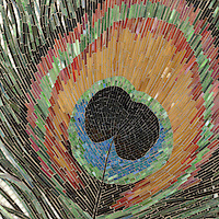 Peacock, a handmade jewel glass mosaic, is shown in Obsidian, Jasper, Tortoise Shell, Peacock Topaz, Peridot, Carnelian, Tiger's Eye, Aventurine, Malachite and Opal.