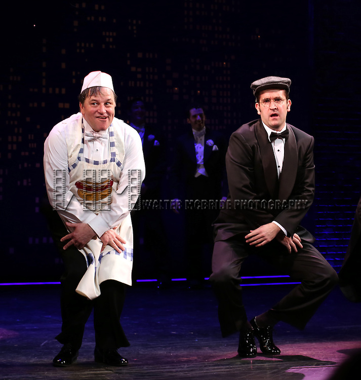 """Jim Borstelmann and James Moye during the Broadway Opening Night Performance Curtain Call for ''Bullets Over Broadway'""""at the St. James Theatre on April 10, 2014 in New York City."""