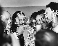 Oakland Athletics dressing room celebration of World Series victory over the New York Mets 1973, from the left, Joe Garagiola, Jim &quot;Catfish Hunter, Billy North, manager Alvin Dark, and Reggie Jackson.<br />