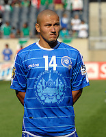 El Salvador's Dennis Alas lines up for the national anthem.  El Salvador defeated Cuba 6-1 at the 2011 CONCACAF Gold Cup at Soldier Field in Chicago, IL on June 12, 2011.