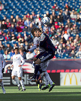 New England Revolution defender A.J. Soares (5) battle for head ball. In a Major League Soccer (MLS) match, the New England Revolution defeated DC United, 2-1, at Gillette Stadium on March 26, 2011.