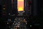 """Sunset In NYC during phenomenon known as """"Manhattanhenge"""