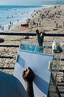 Santa Monica CA Pier, Caricature Artist, Beach, Ocean Waves
