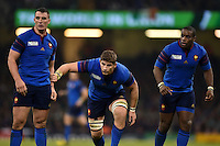 Louis Picamoles, Pascal Pape and Eddy Ben Arous of France look on in defence. Rugby World Cup Pool D match between France and Ireland on October 11, 2015 at the Millennium Stadium in Cardiff, Wales. Photo by: Patrick Khachfe / Onside Images