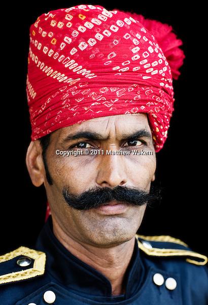 Portrait of Man in Turban, Ananda in the Himalayas, The Palace Estate, Narendra Nagar, Tehri Garhwal, Uttarakhand, India. An Indian darban in traditional ... - asp-wakem-05502
