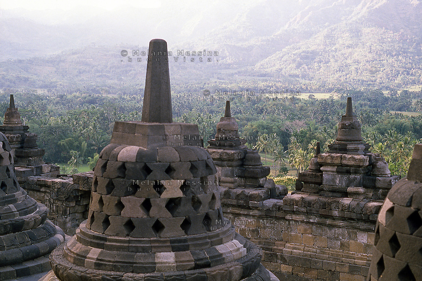 Central Java, Indonesia: detail of The Borobudur temple,  stupas.<br /> Indonesia, Giava: dettagli del tempio Borobudur, le  stupe.