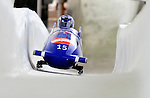 17 December 2010:  Paula Walker pilots her 2-man bobsled for Great Britain, finishing 10th for the day at the Viessmann FIBT World Cup Bobsled Championships in Lake Placid, New York, USA. The event was a Make-up Race from the previous week at Park City where the Women's Bobsled had to be cancelled due to severe snow conditions. Mandatory Credit: Ed Wolfstein Photo