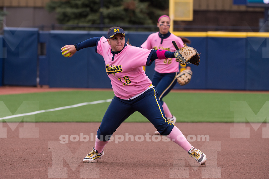 The University of Michigan softball team loses to Wisconsin, 9-3, at Alumni Field during the annual Pink Game in Ann Arbor on May 2, 2014.