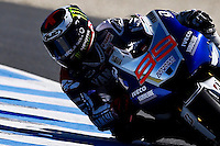 Yamaha MotoGP rider Jorge Lorenzo of Spain rides during the first practice session of the Australian Motorcycle GP in Phillip Island, Oct 18, 2013. Photo by Daniel Munoz/VIEWpress IMAGE RESTRICTED TO EDITORIAL USE ONLY- STRICTLY NO COMMERCIAL USE.