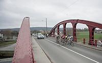 breakaway group crossing the River Schelde<br /> <br /> 69th Kuurne-Brussel-Kuurne 2017 (1.HC)