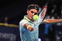 Roger Federer wins 6-4, 6-2 against Adrian Mannarino (FRA) in the 1st round of the Swiss Indoors 2013 at St. Jakobshalle in Basel, Switzerland on Monday, October 21, 2013. Photo: Miroslav Dakov