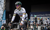 World Champion Peter Sagan (SVK/Bora-Hansgrohe) riding off the start presentation podium<br /> <br /> 60th E3 Harelbeke (1.UWT)<br /> 1day race: Harelbeke &rsaquo; Harelbeke - BEL (206km)