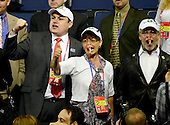 Guests call for a point of order during the reading of the Reoprt of the Committee on Permanent Organization at the 2012 Republican National Convention in Tampa Bay, Florida on Tuesday, August 28, 2012.  .Credit: Ron Sachs / CNP.(RESTRICTION: NO New York or New Jersey Newspapers or newspapers within a 75 mile radius of New York City)