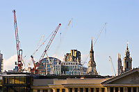Cranes over the Strand and Covent Garden, London, England, United Kingdom