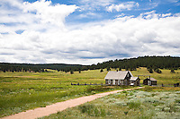 Grass prairie meadow at Hornbek Homestead Colorado, historic building in Florissant Fossil Beds National Monument