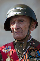Moscow, Russia, 09/05/2010..A Russian army veteran in Gorky Park to celebrate Victory Day.