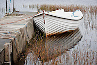 Row boat moored in small loch, Isle of Lewis, Scotland