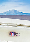 5 December 2014: Chris Mazdzer, sliding for the USA, slides through Curve Number 14 on his first run, ending the day with a 4th place finish and a combined 2-run time of 1:43.205 in the Men's Competition at the Viessmann Luge World Cup, at the Olympic Sports Track in Lake Placid, New York, USA. Mandatory Credit: Ed Wolfstein Photo *** RAW (NEF) Image File Available ***
