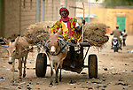 A man drives a donkey-drawn cart through the streets of Timbuktu, a city in northern Mali which was seized by Islamist fighters in 2012 and then liberated by French and Malian soldiers in early 2013.
