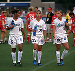2 August 2003: Sharolta Nonen (6) and the Augustyniak twins Nancy (25) and Julie (15). The Philadelphia Charge defeated the Atlanta Beat 3-0 at Villanova Stadium in Villanova, PA in a regular season WUSA game.