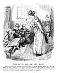 """The Good Boy of the East. Turkey (from the corner in which Europa has put him). """"I fear, Madam, that our young friends are causing you some embarrassment. But while greatly deploring their insubordination, I regret that I am not in a position to render any appreciable assistance to your authority."""""""
