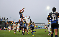 Dan Sanderson of Worcester Warriors wins the ball at a lineout. Aviva Premiership match, between Worcester Warriors and Bath Rugby on February 13, 2016 at Sixways Stadium in Worcester, England. Photo by: Patrick Khachfe / Onside Images