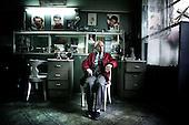 Warsaw 17.04.2008 Poland<br /> Mr. Witold the barber in his workplace. Mr. Witold is typical old Warsaw city dweller. He is working in the same place for 62 years<br /> (Photo by Adam Lach / Napo Images for Newsweek Polska)<br /> <br /> Pan Witold fryzjer meski. Pan Witold jest typowym starszym mieszkancem Warszawy. Pracuje w tym samym miejscu juz od 62 lat<br /> (Fot Adam Lach / Napo Images dla Newsweek Polska)