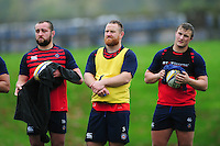 Tom Dunn, Ross Batty and Jack Walker of Bath Rugby look on. Bath Rugby training session on November 22, 2016 at Farleigh House in Bath, England. Photo by: Patrick Khachfe / Onside Images