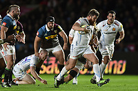 Greg Holmes of Exeter Chiefs goes on the attack. Aviva Premiership match, between Harlequins and Exeter Chiefs on April 14, 2017 at the Twickenham Stoop in London, England. Photo by: Patrick Khachfe / JMP